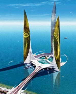 La villa de Neptuno. Ciudad acuatica Qui em Abu Dabi.320mt altura. Proyecto de Jacques Rougerie.