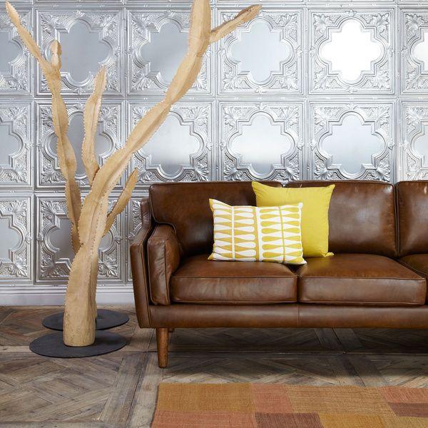 Beatnik Oxford Leather Tan Sofa
