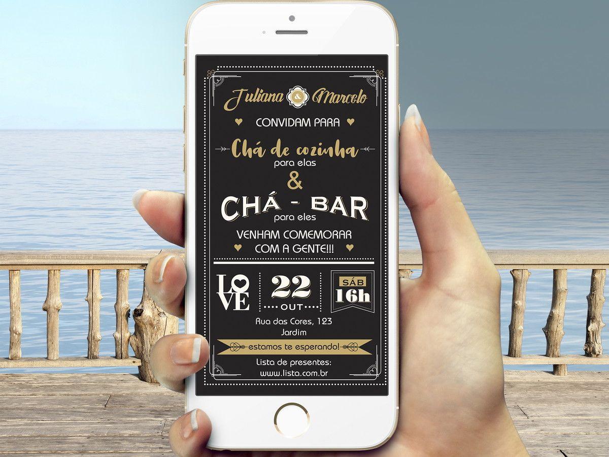 Convite Digital Cha Bar E Cozinha Whatsapp Cha Bar Convite