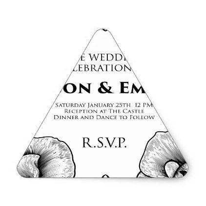 Roses Wedding Invite Invitation Template Triangle Sticker - wedding
