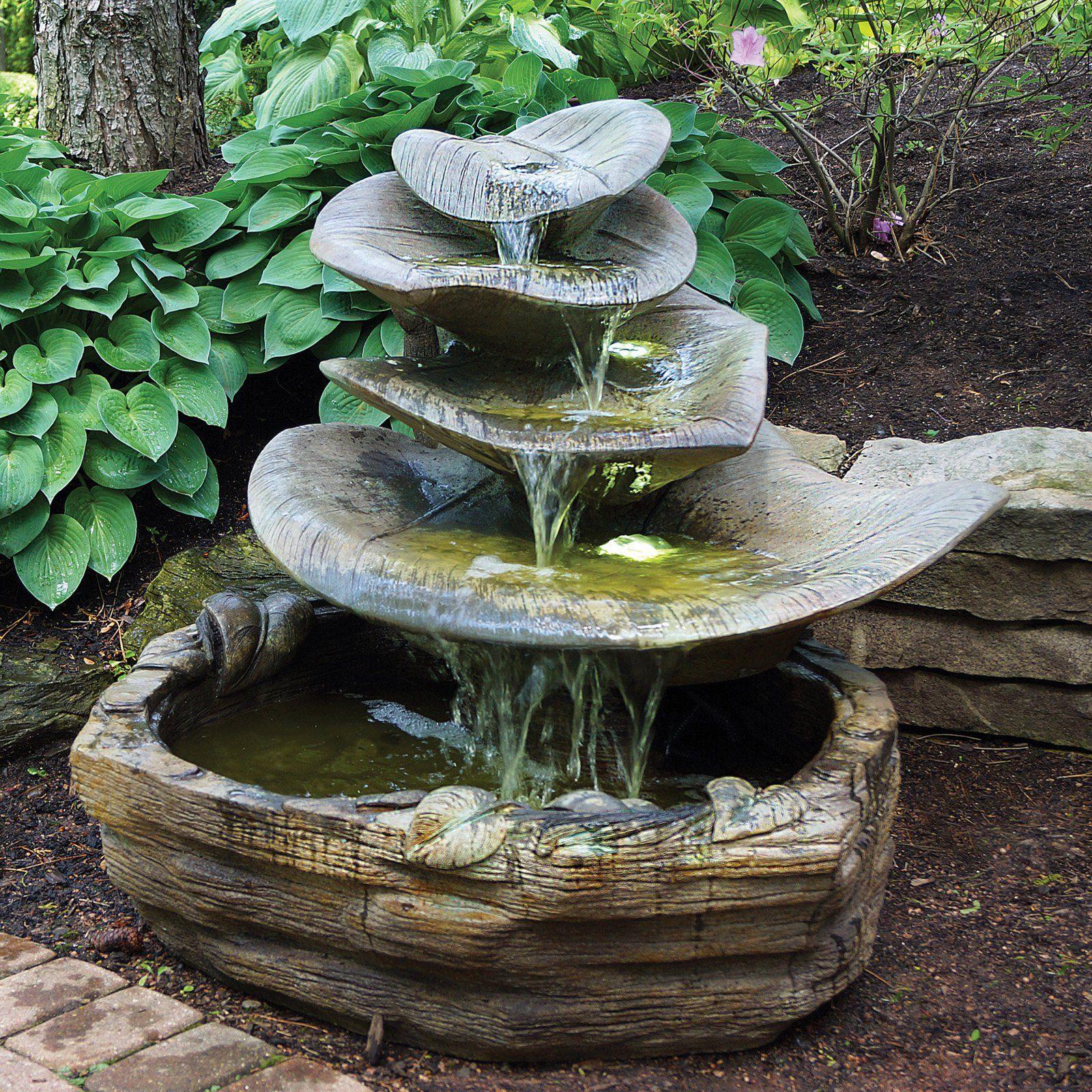 Henri Studio Giant Leaf Outdoor Fountain Fountains