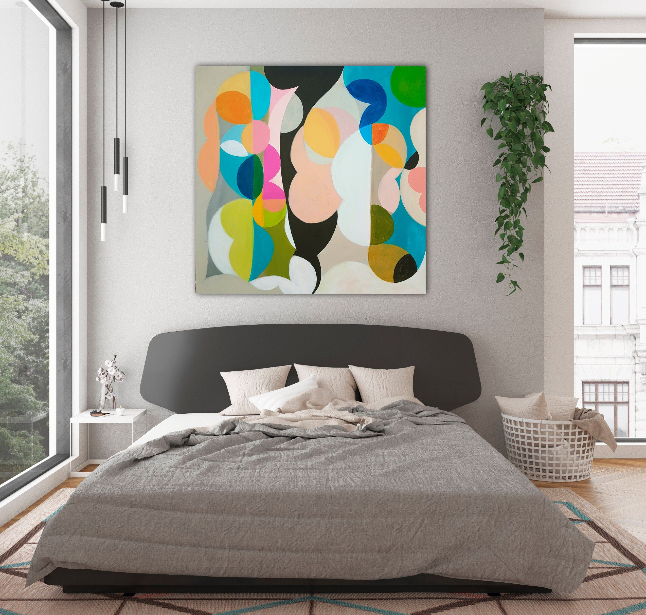 Original Colorful Pop Wall Art Geometric Painting With Light Etsy In 2020 Geometric Painting Abstract Canvas Art Colorful Abstract Painting