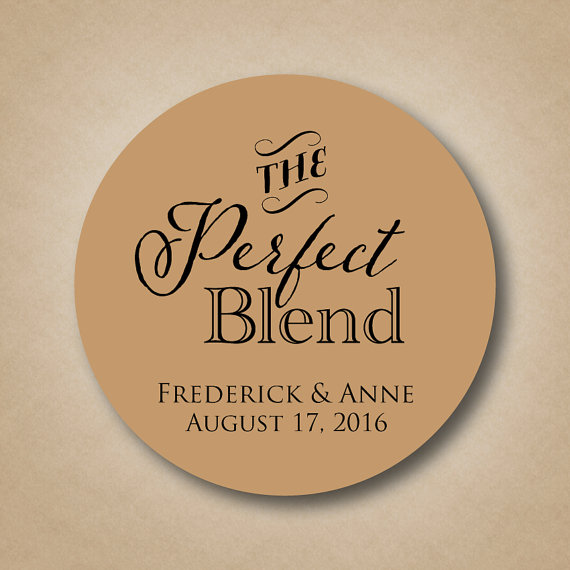 the perfect blend sticker wedding coffee favor label sticker wedding favor ideas tea favor sticker label custom bridal shower favor sticker