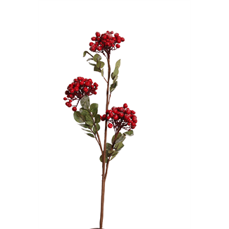 Berry Branch (3 cluster) Red with Snow  #berries #christmasberries #christmasdecor #christmasurns #urnaccents #floral #berrybranch #berry #branch #berriedbranch #xmas #christmasfloral