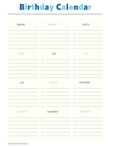 Printables Birthday Calendar Printable Activities For Kids