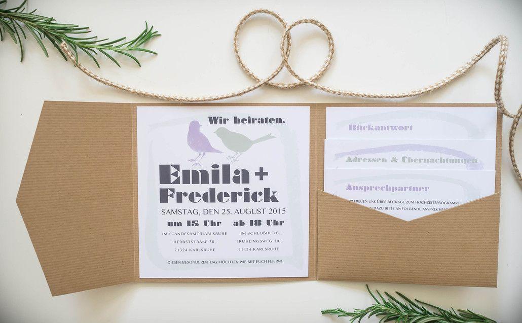 Juhu Papeterie Karlsruhe Hochzeitseinladung Vogel Birds Lila