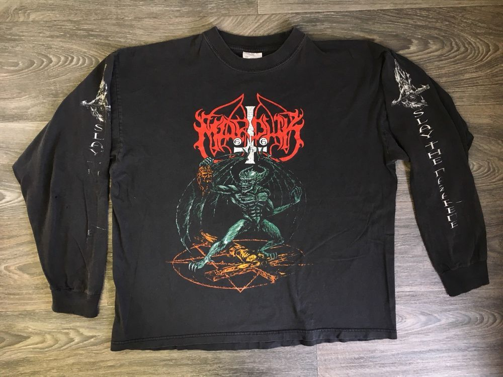 3b872b04fc27b6 Marduk Band Shirt Vtg 90s Long Sleeve Black Metal Slay Nazareth 666 Rare XL   Unbranded  GraphicTee