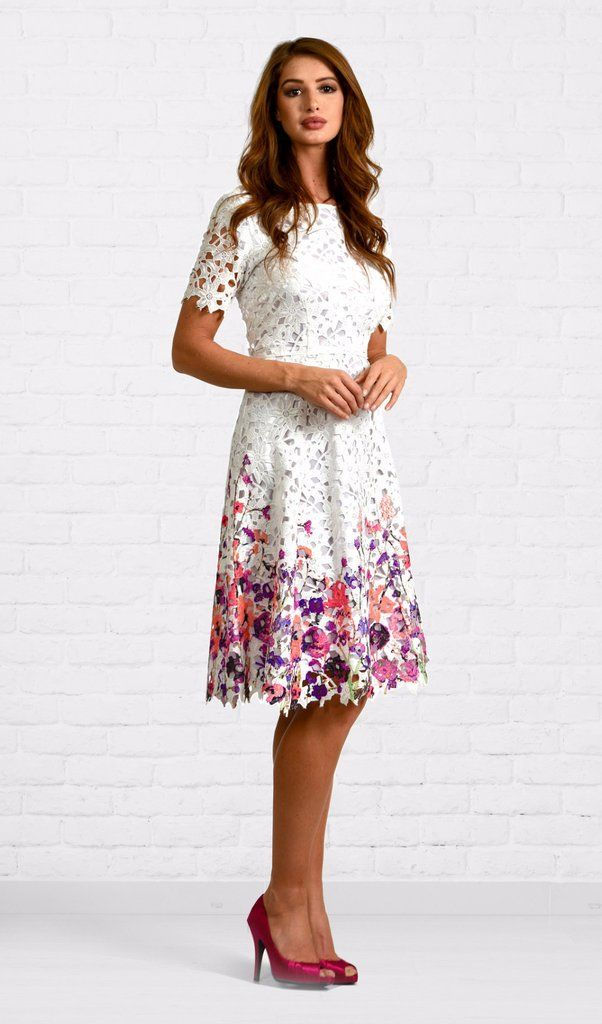 Kate White Lace Dress With Painted Flowers Dm Exclusive