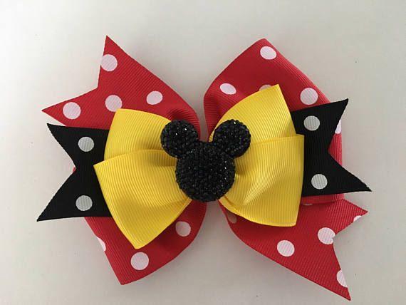 4 Inch headband Disney girls Minnie Mouse inspired Hair Bow hair clip