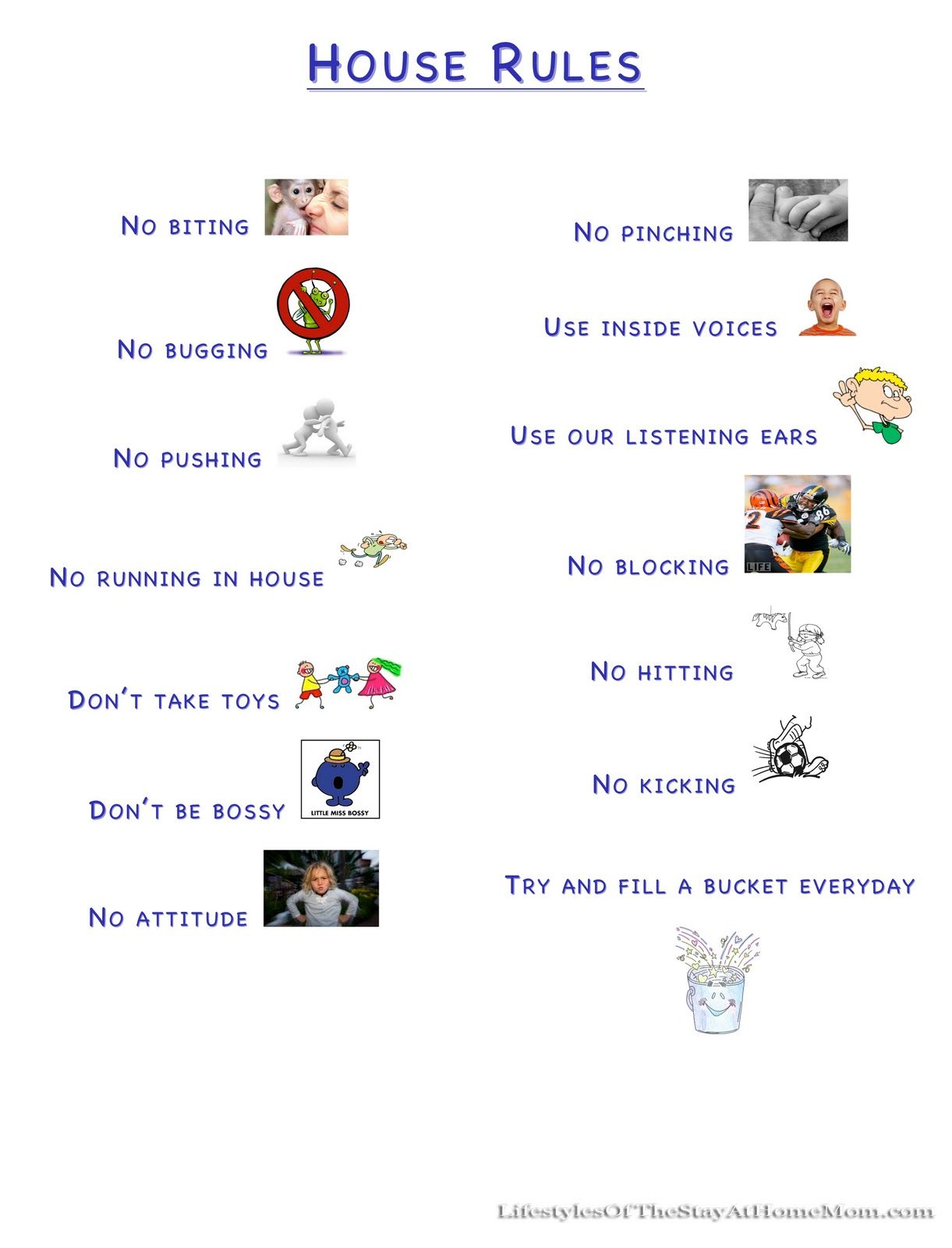 Canny image in house rules for kids printable
