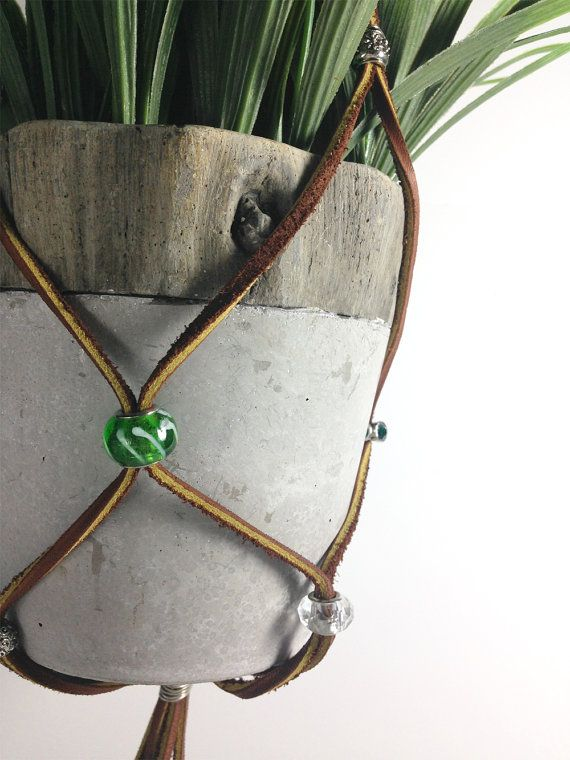 Genial Beautiful And Original Adjustable Plant Hanger Made From Leather Lace,  Glass Beads And Metal Beads. This Is Like Macrame Without All The Knots!