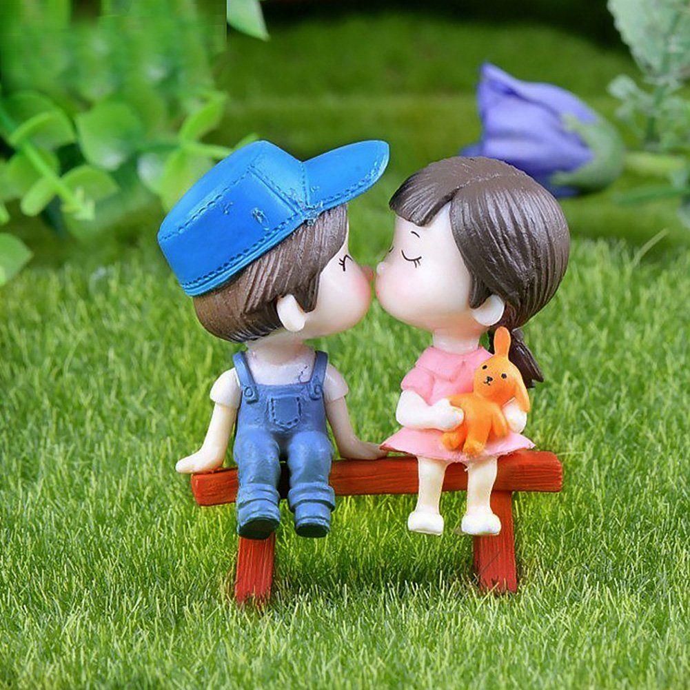 2 Pcs Miniature Boy/& Girl Garden Ornament Figurine Fairy Dollhouse Decor
