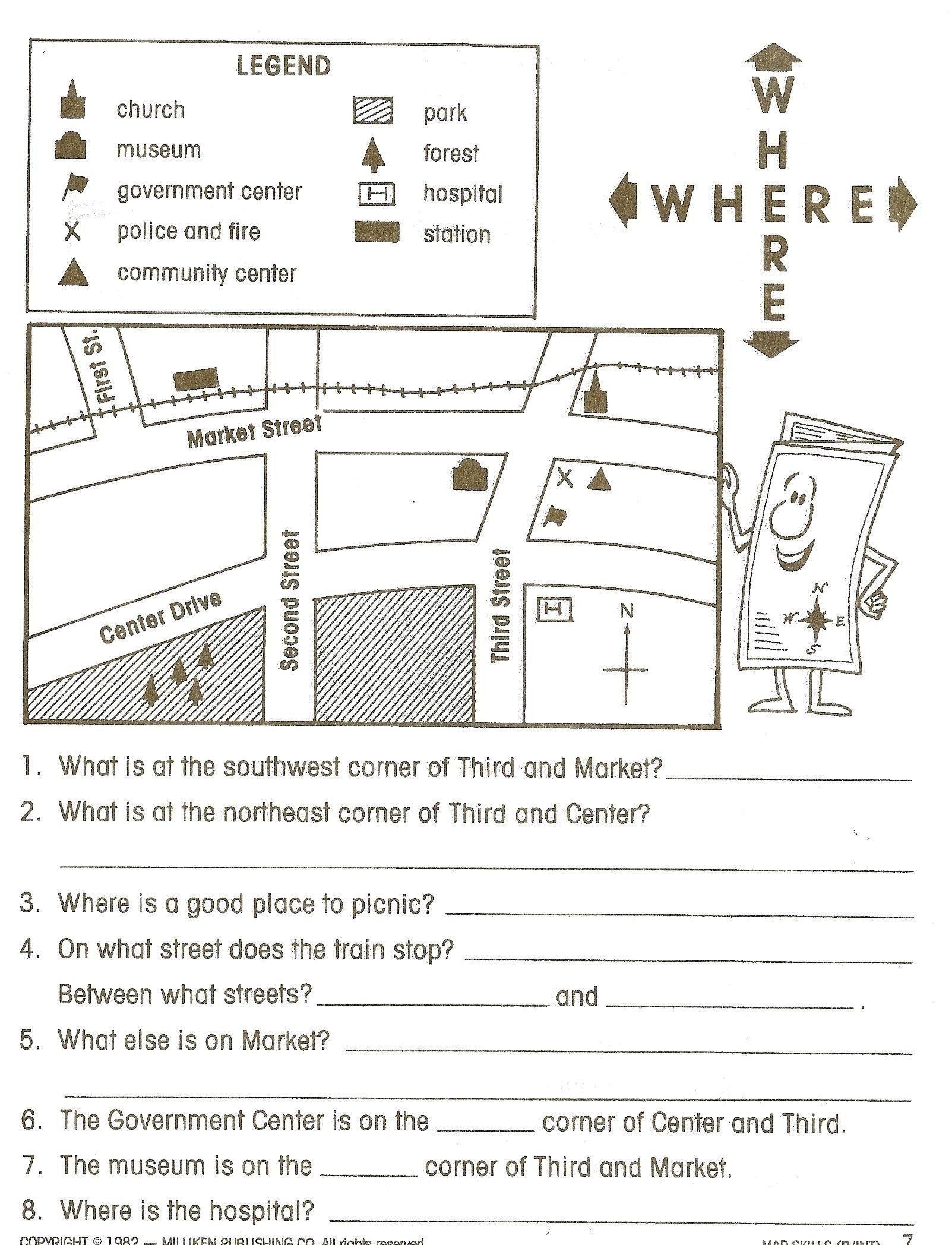 Reading A Map Worksheet 4th Grade Worksheets Social Stu S