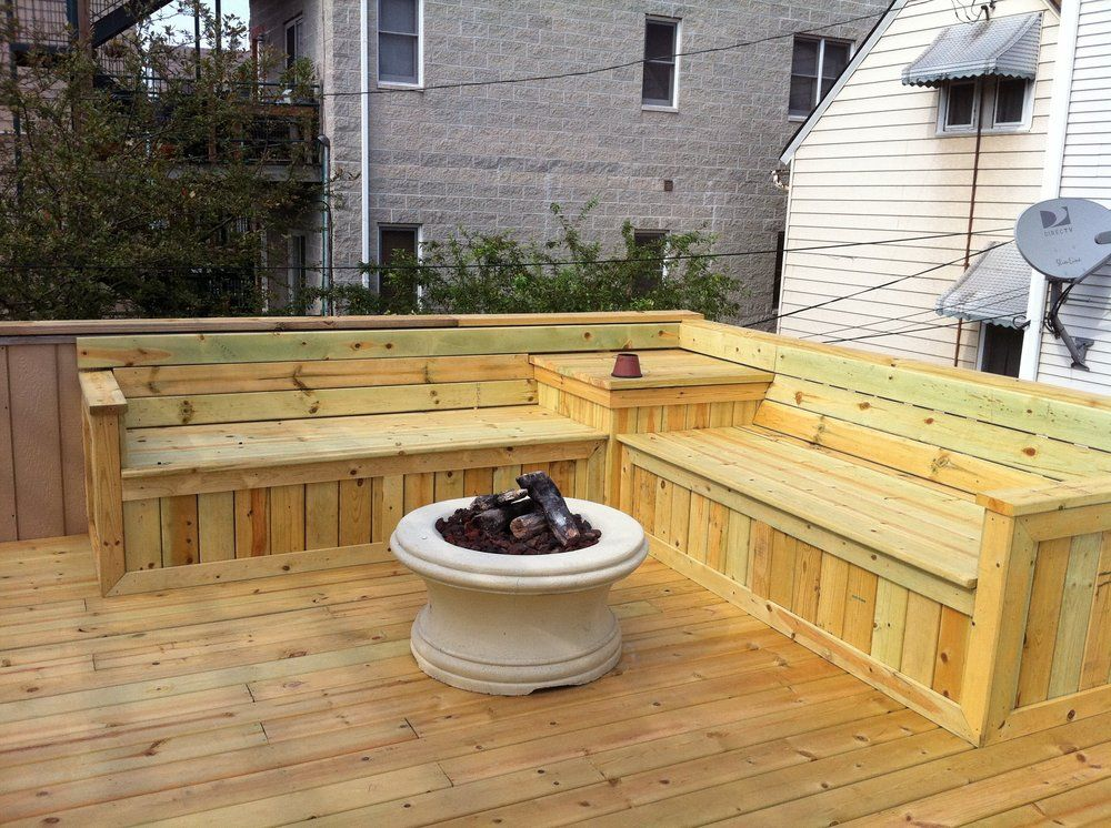 Deck bench seat yelp pinteres for Garden decking ideas pinterest