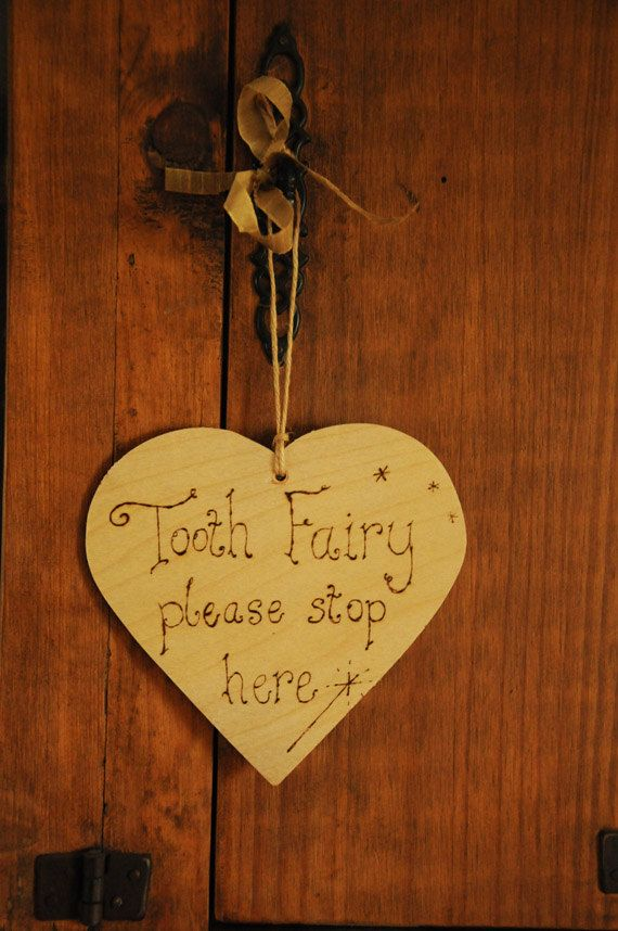 Photo of Tooth fairy sign, heart sign, wooden door hanger, 'Tooth Fairy Please Stop Here' engraved with pyrography