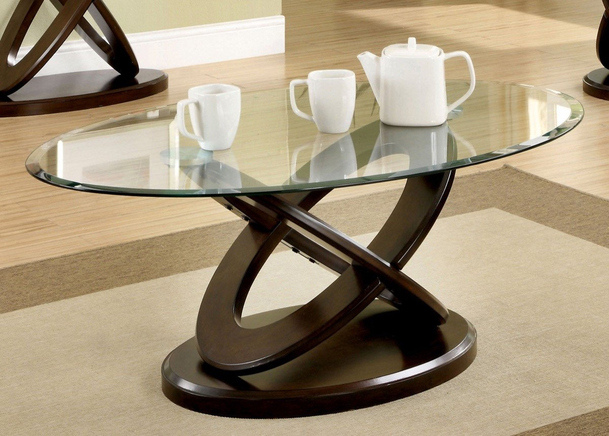 Furniture Of America Caliyah Oval Glass Top Coffee Table Dark