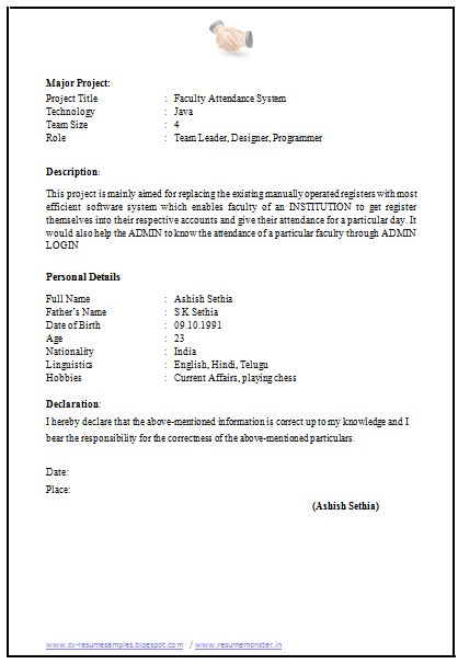 resume application format - Application Resume Format