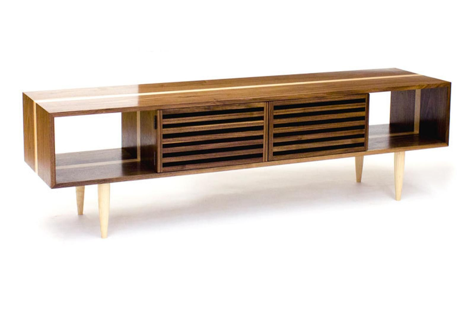 Bucks Media Console Modern Solid Walnut And Maple Tv Stand Media Cabinet Meuble Tele Mobilier Et Console