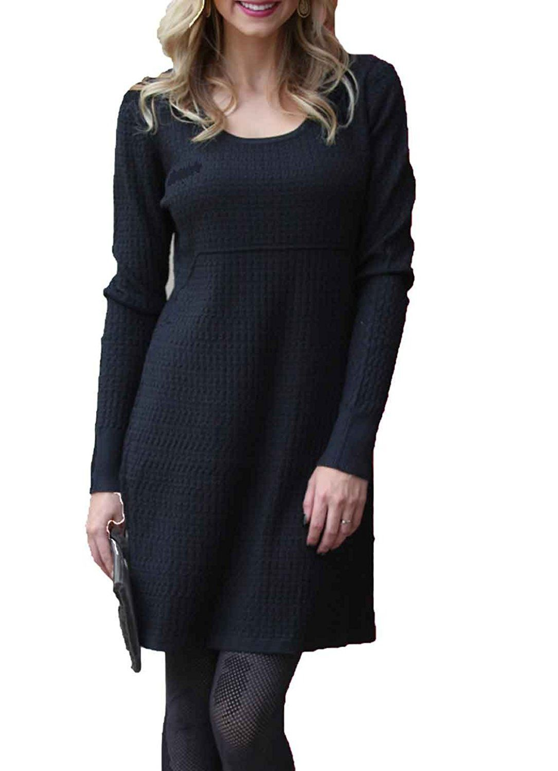 Angie womenus knit long sleeve sweater dress black products