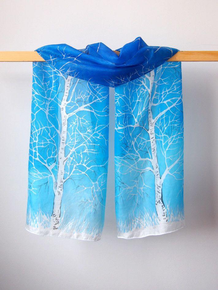 Silk scarf Birch - scarf handpainted - silk scarves ...