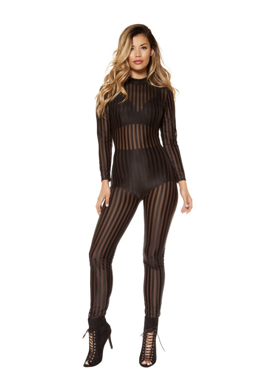 1dc932adade Sexy Roma Black Clubwear Sheer Mesh Long Sleeve Striped Jumpsuit Catsuit