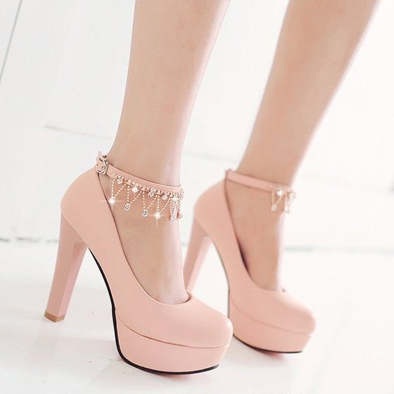 billiger Verkauf Farben und auffällig Tiefstpreis Rosa-runde Zehe Chunky Kette Strass Süße hochhackige Schuhe ...