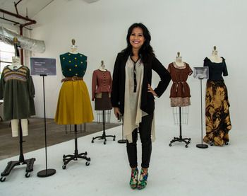 Nashville Fashion Week co-founder Marcia Masulla stands among O'More College of Design student work, on display at the #whynfw 2014 Industry Panel series. Pieces showcased will walk down the runway during the 16th Annual O'More Student Fashion Show on May 9, 2014.