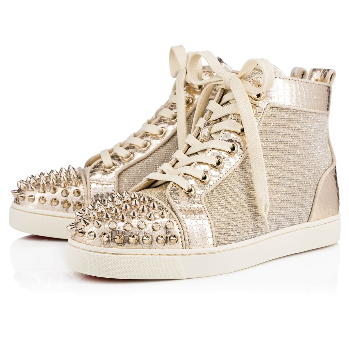 2c18fc34e38 CHRISTIAN LOUBOUTIN Lou Spikes Women's Flat Version Gold Lame Sirene ...