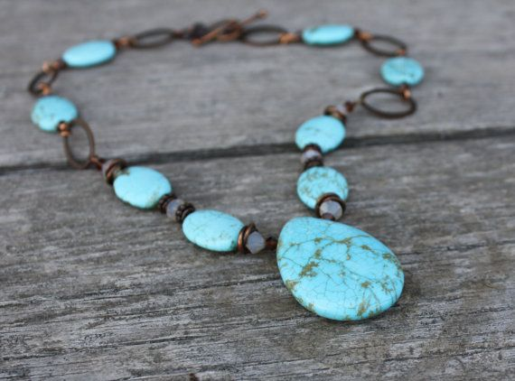 Turquoise Pendant Copper Necklace with by CrystalCreationsOfNi, $78.00