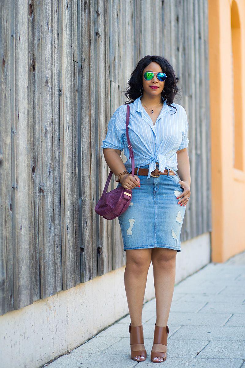 High waist denim skirt outfit
