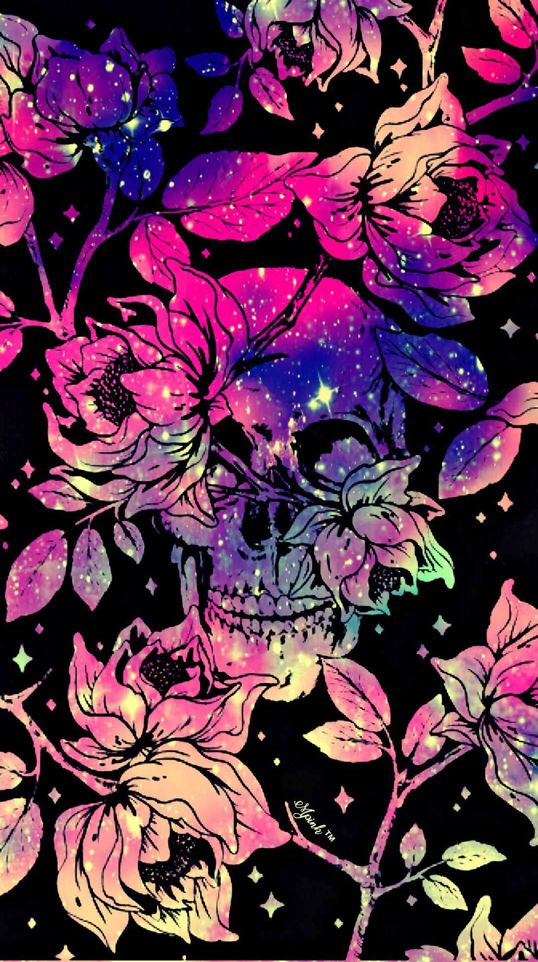 Skull Roses Grunge Galaxy Iphone Android Wallpaper I Created For