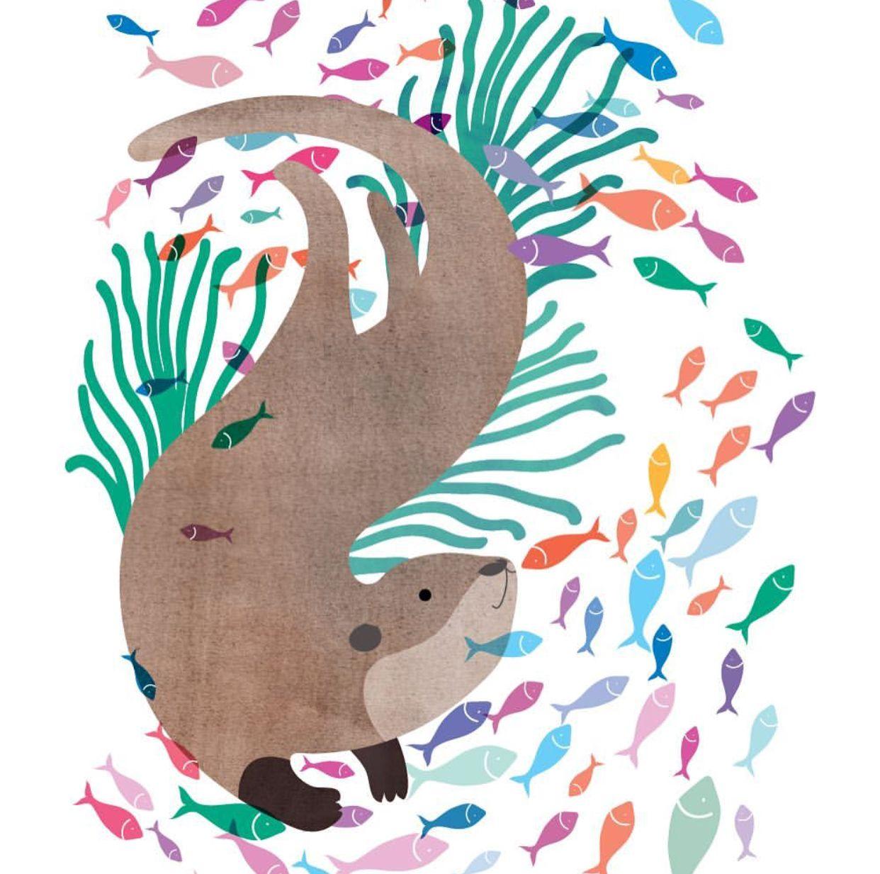 Otter With Fishes Otter Art Otter Illustration Animal Illustration Kids