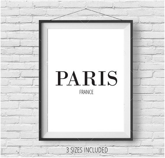 Paris France Printable Wall Art Simple Typographic by Quotasis