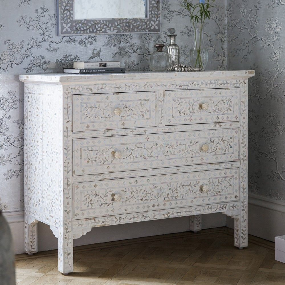 Classic Mother Of Pearl Chest Of Drawers In White