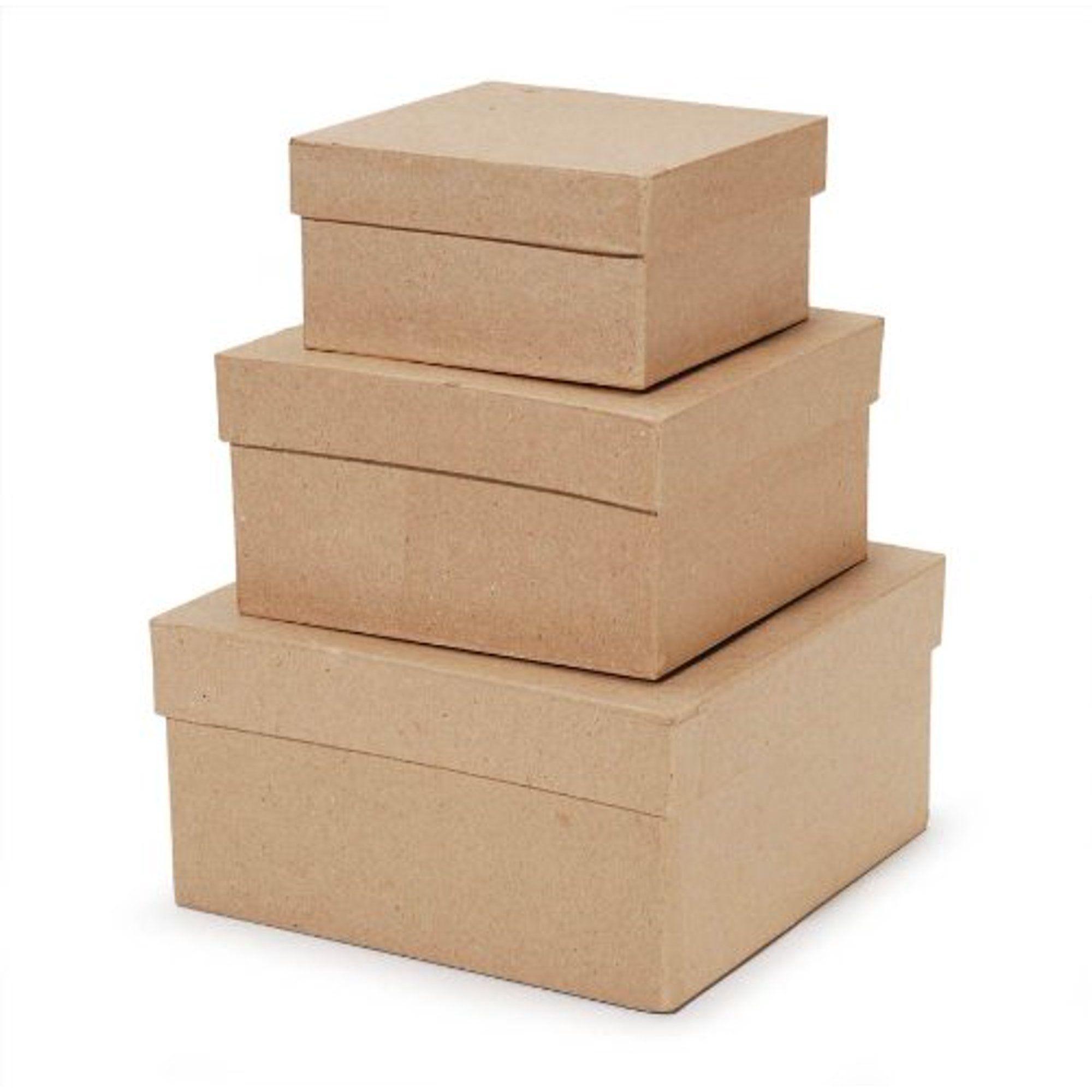 Paper Mache Square Box Set of 3 -   19 diy Box art ideas