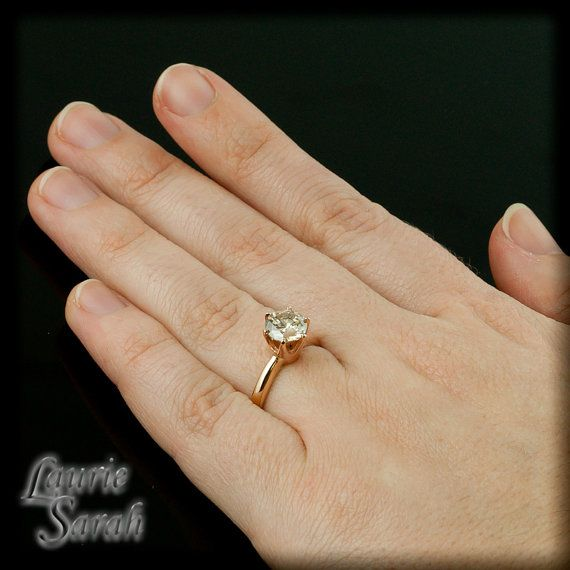 round brilliant cut diamond rose gold engagement ring tiffany setting ls1973 - Wedding Rings Tiffany