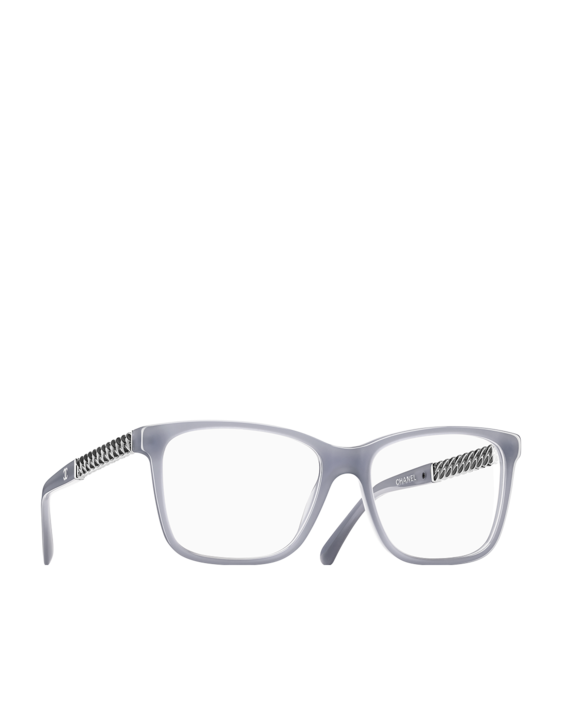 b7366164c452 Square acetate optical glasses with lacquered metal chain temples and cc  signature - CHANEL