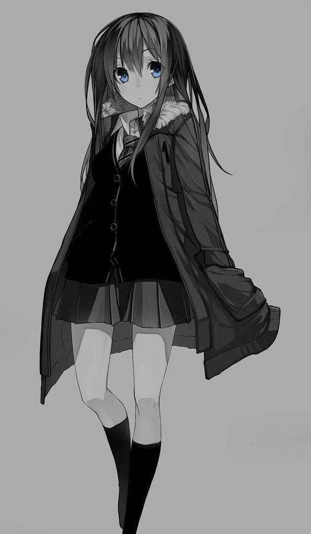 fille anim u00e9e  art  noir et blanc  yeux bleux  froid  savon  dessin u00e9  fille  kawaii  manga