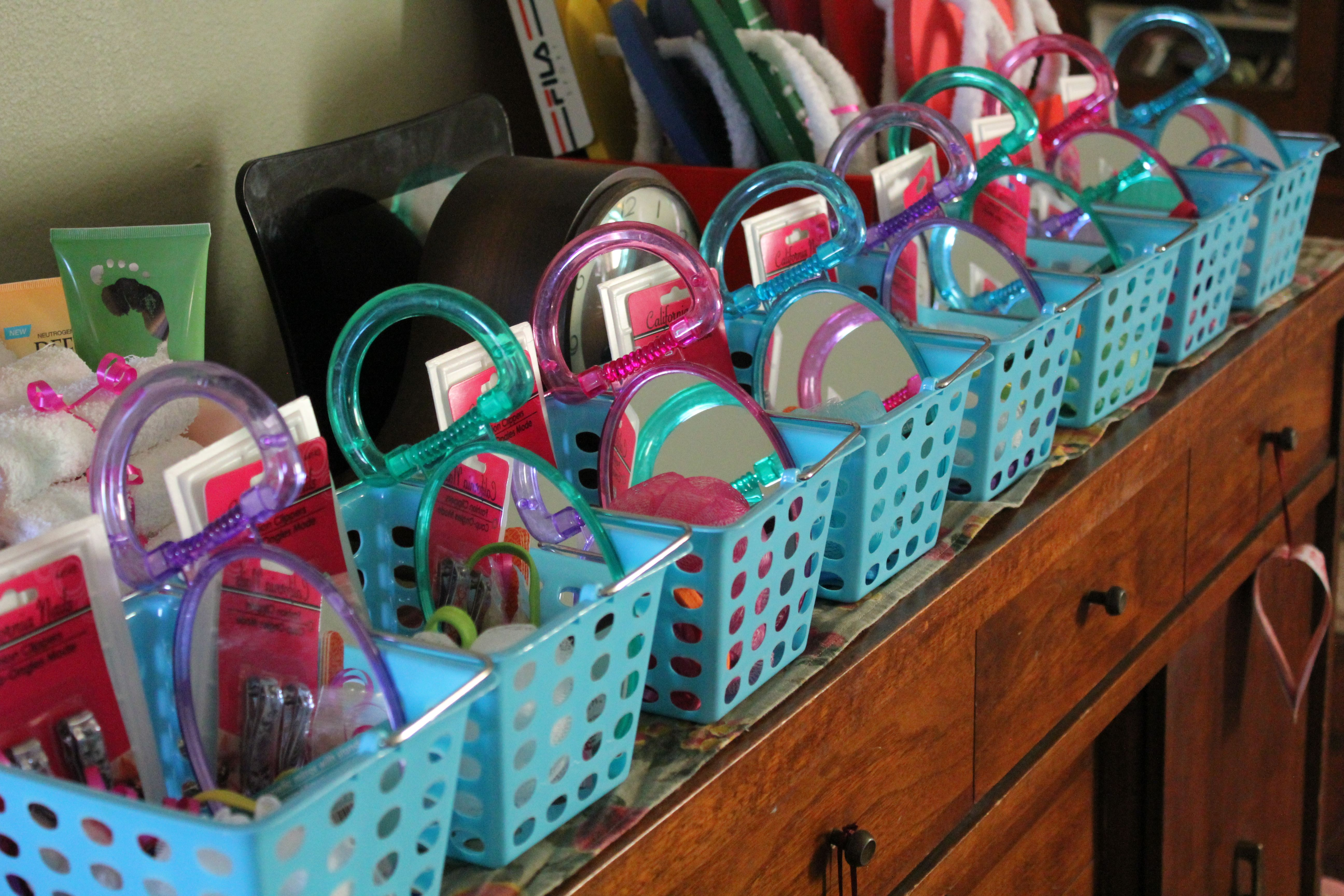 Spa Day Birthday Party Baskets Filled With Spa Related