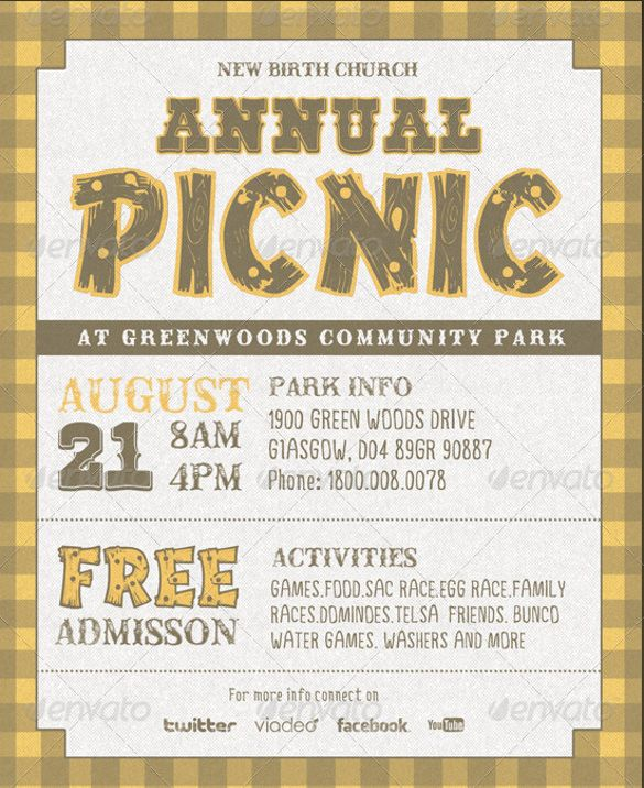 17 Picnic Invitation Templates Free Sample Example Format