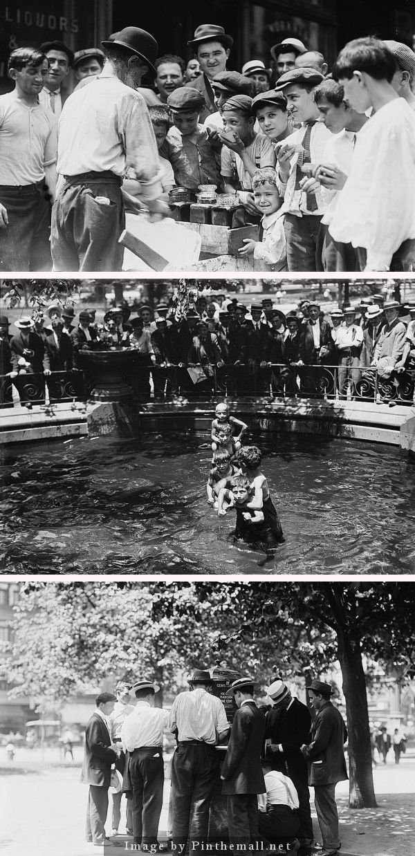 SUMMER HEAT: Shaved ice for sale, kids get cool in Madison Square fountain, men purchasing cool drinks from a vendor. Summertime, 1911, in NYC. | In New Hampshire  380 people died from the heat in the scortching summer of 1911.