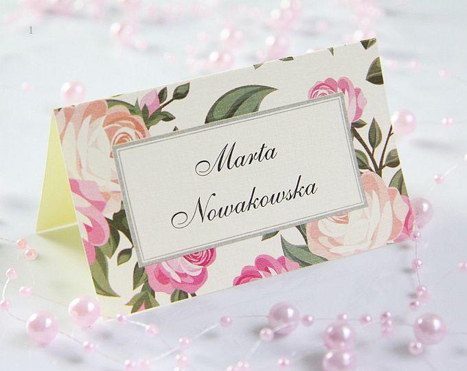 Winietki Na Stol Wizytowki Slubne Roze Vintage 5582737104 Oficjalne Archiwum Allegro Wedding Place Cards Wedding Invitations Place Card Holders