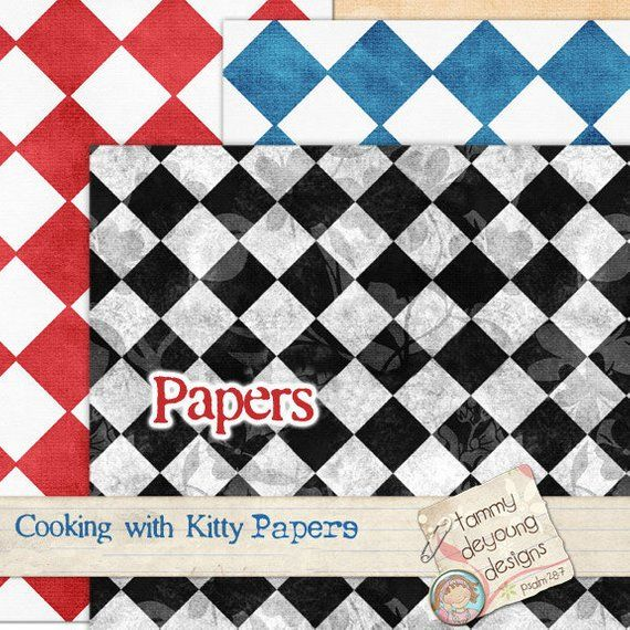 Digital Bistro Papers *Kitchen Cooking themed backgrounds gingham, checkerboard, red blue green blac