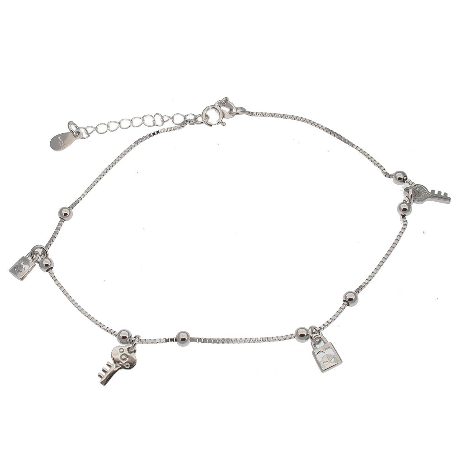 silver anklet foot ladies womens lock bracelet key female anclet ankle itm