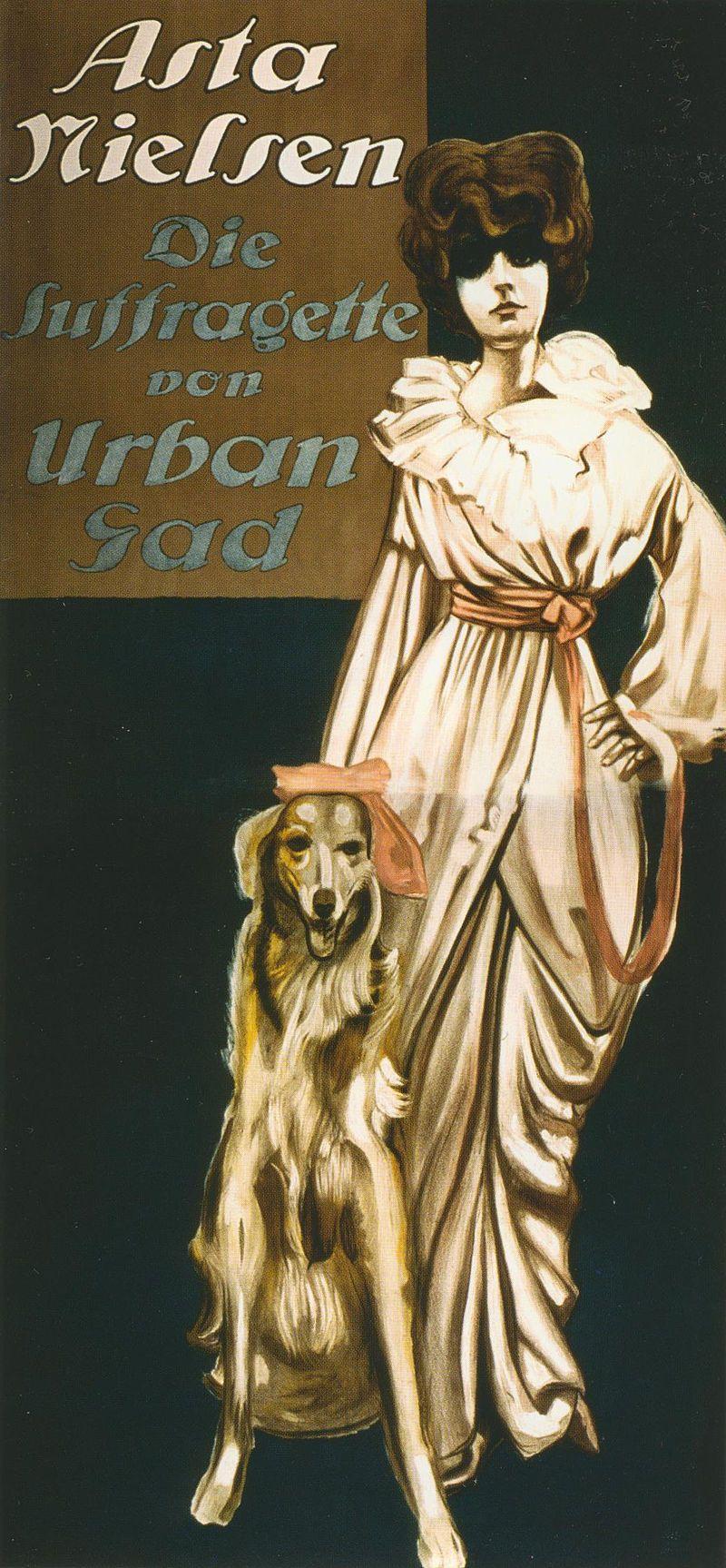 Filmposter zu Urban Gads Die Suffragette (1913), gezeichnet von Ernst Deutsch-Dryden; Hauptrolle Asta Nielsen, neben ihr ein Barsoi.