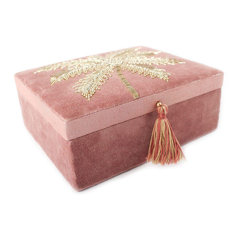 Buy À La Beaded Palm Tree Velvet Jewelry Box