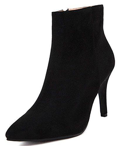 Women's Elegant Pointed Toe Side Zip Up High Heels Stiletto Ankle Booties