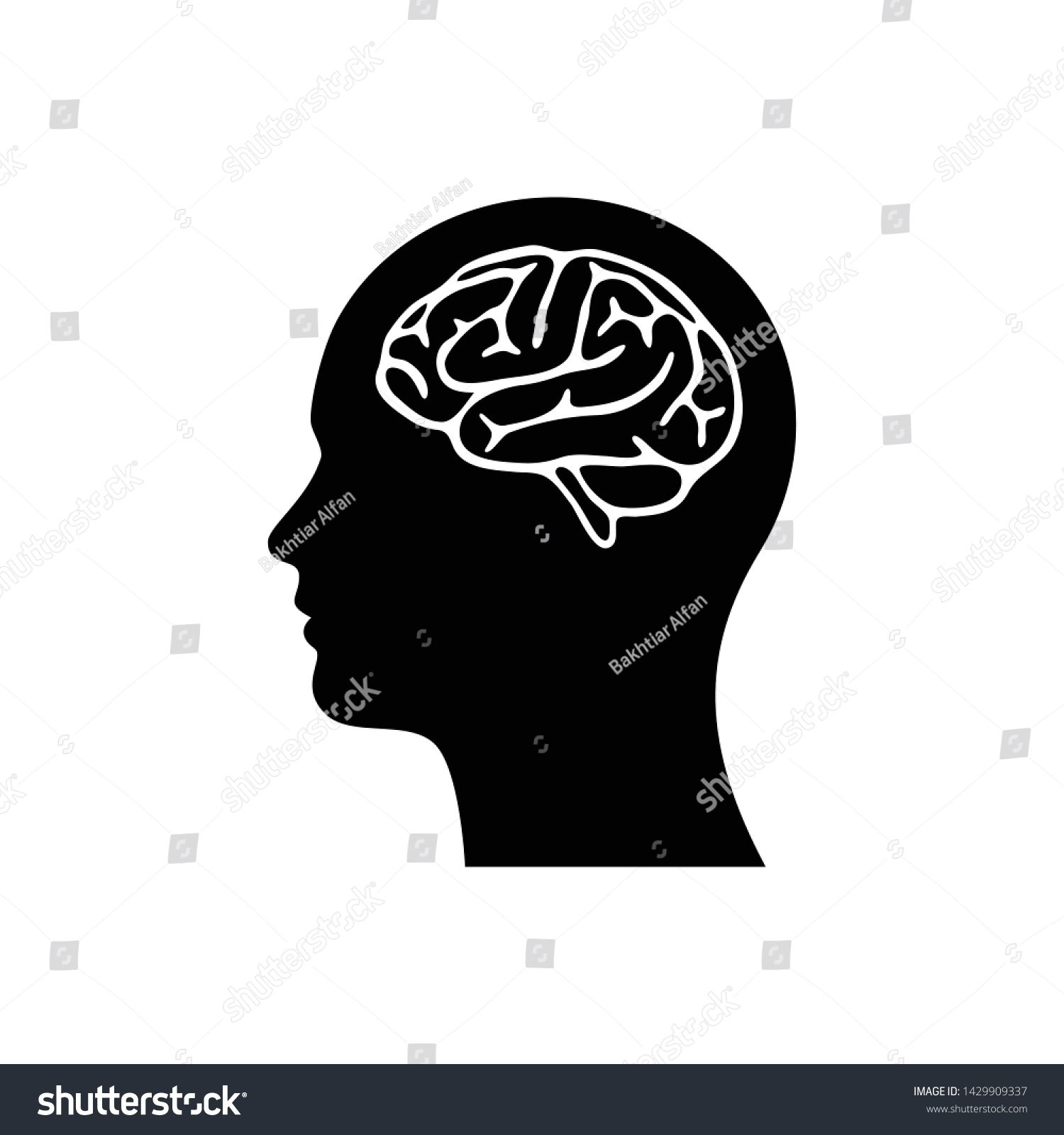 Silhouette head with brain vector flat illustation isolated on white simple and clean brain icon