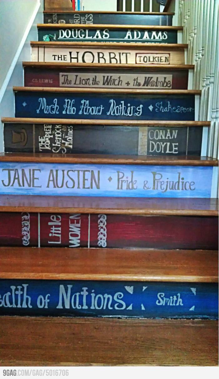 The stairs of a book lover.  Wish I had a staircase so I could do this!