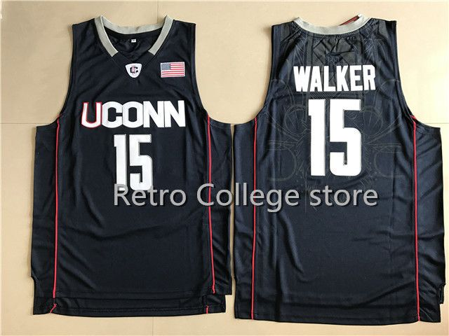 005722abb358  15 Kemba Walker UCONN Retro Throwback Stitched Basketball Jersey Sewn  Camisa Embroidery Stitched Any Name And Number  Affiliate